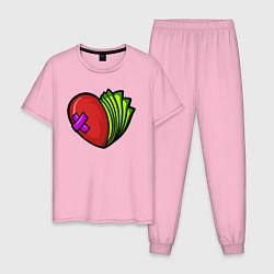 Пижама хлопковая мужская Деньги или Любовь цвета светло-розовый — фото 1