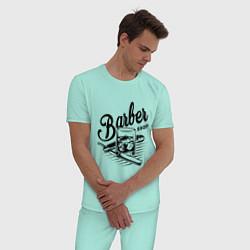 Пижама хлопковая мужская Barber shop цвета мятный — фото 2