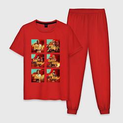 Пижама хлопковая мужская Far Cry Posters цвета красный — фото 1