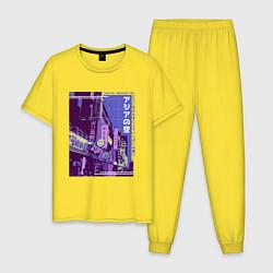 Пижама хлопковая мужская Neon Asian Street Vaporwave цвета желтый — фото 1