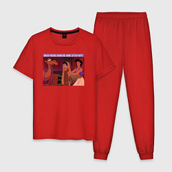 Пижама хлопковая мужская After Party цвета красный — фото 1
