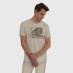 Пижама хлопковая мужская Dl цвета миндальный — фото 2