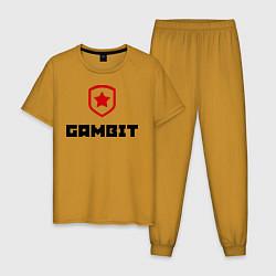 Пижама хлопковая мужская Gambit цвета горчичный — фото 1