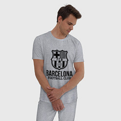 Пижама хлопковая мужская Barcelona FC цвета меланж — фото 2
