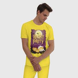 Пижама хлопковая мужская Ночная вечеринка цвета желтый — фото 2