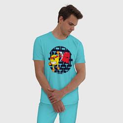 Пижама хлопковая мужская Pac-Man цвета бирюзовый — фото 2