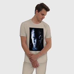 Пижама хлопковая мужская Kristanna Loken цвета миндальный — фото 2