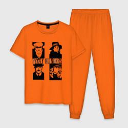 Пижама хлопковая мужская Томас, Одри, Честер и Грейс Острые козырьки цвета оранжевый — фото 1