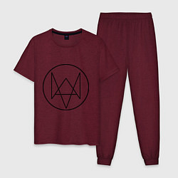 Пижама хлопковая мужская Watch Dogs цвета меланж-бордовый — фото 1