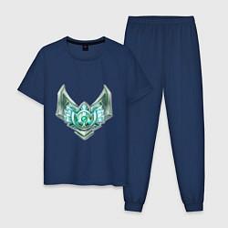 Пижама хлопковая мужская Эмблема платина цвета тёмно-синий — фото 1