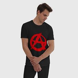 Пижама хлопковая мужская Символ анархии цвета черный — фото 2
