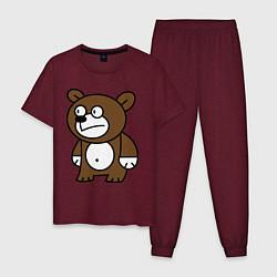 Пижама хлопковая мужская Странный мишка цвета меланж-бордовый — фото 1