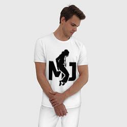 Пижама хлопковая мужская MJ Music цвета белый — фото 2