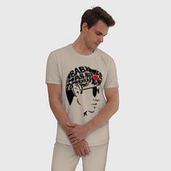 Пижама хлопковая мужская Arctic Monkeys Love цвета миндальный — фото 2
