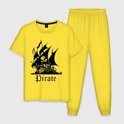 Пижама хлопковая мужская Пират цвета желтый — фото 1