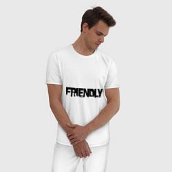 Пижама хлопковая мужская DayZ: Im friendly цвета белый — фото 2