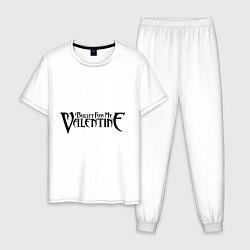 Пижама хлопковая мужская Bullet for my Valentine цвета белый — фото 1