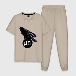Пижама хлопковая мужская DM Raven цвета миндальный — фото 1