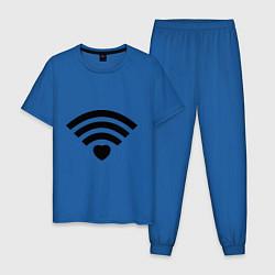 Пижама хлопковая мужская Wi-Fi Love цвета синий — фото 1