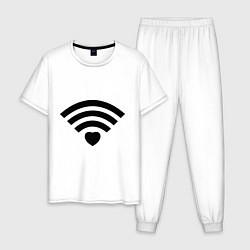 Пижама хлопковая мужская Wi-Fi Love цвета белый — фото 1
