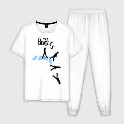 Пижама хлопковая мужская The Beatles: break down цвета белый — фото 1