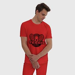 Пижама хлопковая мужская Tennis цвета красный — фото 2