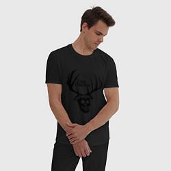 Пижама хлопковая мужская True Detective: Deer Skull цвета черный — фото 2
