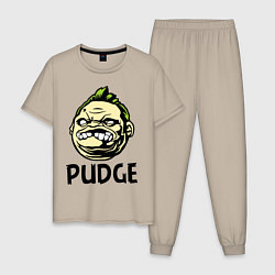 Пижама хлопковая мужская Pudge Face цвета миндальный — фото 1