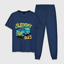 Пижама хлопковая мужская Summer bus цвета тёмно-синий — фото 1