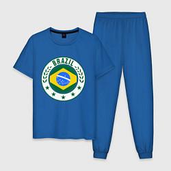 Пижама хлопковая мужская Brazil 2014 цвета синий — фото 1