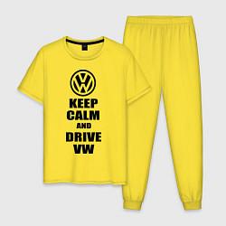 Пижама хлопковая мужская Keep Calm & Drive VW цвета желтый — фото 1