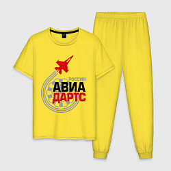 Пижама хлопковая мужская Авиадартс Россия цвета желтый — фото 1