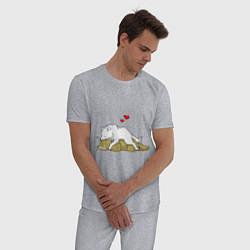 Пижама хлопковая мужская Волчья любовь цвета меланж — фото 2