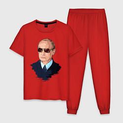 Пижама хлопковая мужская Путин в очках цвета красный — фото 1