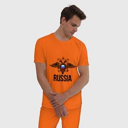 Пижама хлопковая мужская Russia цвета оранжевый — фото 2