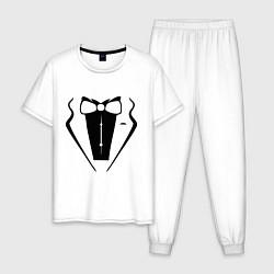 Пижама хлопковая мужская Костюм жениха цвета белый — фото 1