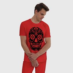 Пижама хлопковая мужская Расписной череп цвета красный — фото 2