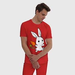 Пижама хлопковая мужская Зайка с морковкой цвета красный — фото 2