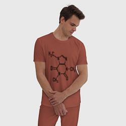 Пижама хлопковая мужская Кофеин формула цвета кирпичный — фото 2