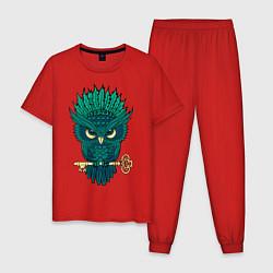 Пижама хлопковая мужская Сова с ключом цвета красный — фото 1