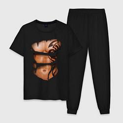 Пижама хлопковая мужская Торс с тату цвета черный — фото 1