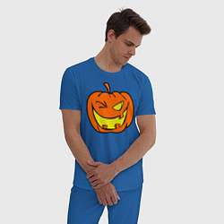 Пижама хлопковая мужская Подмигивающая тыква цвета синий — фото 2