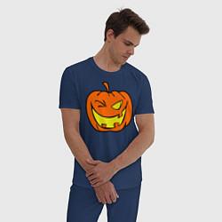 Пижама хлопковая мужская Подмигивающая тыква цвета тёмно-синий — фото 2