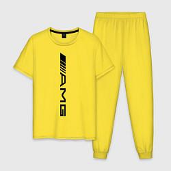 Пижама хлопковая мужская AMG цвета желтый — фото 1