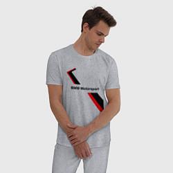 Пижама хлопковая мужская BMW: Red Motorsport цвета меланж — фото 2