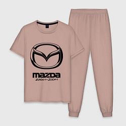Пижама хлопковая мужская Mazda Zoom-Zoom цвета пыльно-розовый — фото 1