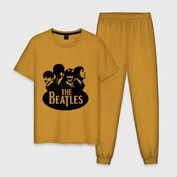 Пижама хлопковая мужская The Beatles Band цвета горчичный — фото 1