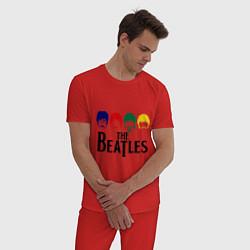 Пижама хлопковая мужская The Beatles Heads цвета красный — фото 2