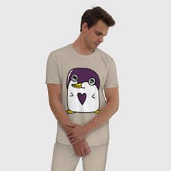 Пижама хлопковая мужская Нарисованный пингвин цвета миндальный — фото 2