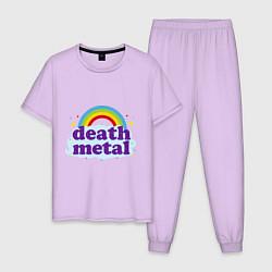 Пижама хлопковая мужская Death Metal: Rainbow цвета лаванда — фото 1